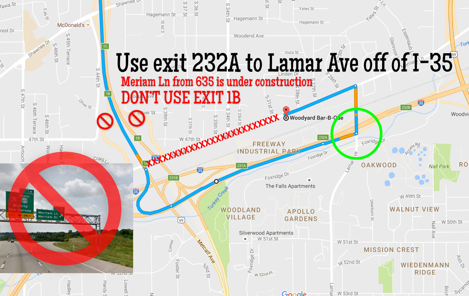 During road construction: please use Lamar/I-35 Exit.